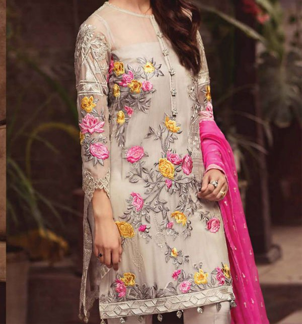 Embroidered Chiffon Unstitched 3 Piece Suit (CHI-222) (Unstitched)