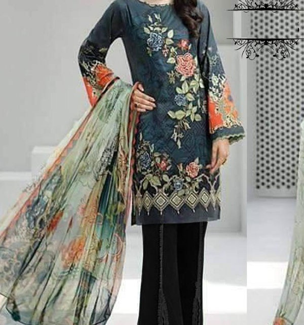 Khaddar Embroidered Suit with Wool Shawl Dupatta (Unstitched) (KD-53)