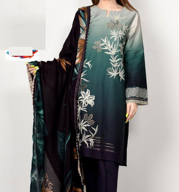 Embroidered Lawn Suit with Lawn Dupatta (DRL-619)