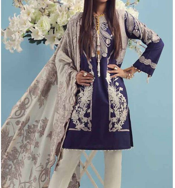 Embroidered Lawn Unstitched 3 Piece Suit WIth Chiffon Dupatta (DRL-313)