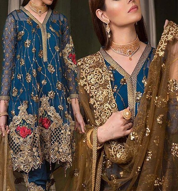 Luxury Embroidered NET Suit With NET Dupatta 2019 (CHI-278-A) (Unstitched)