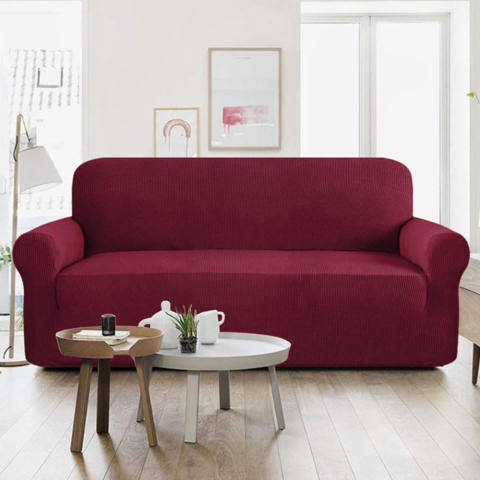Jersey Sofa Covers Protector Slipcover - 7 Seater - Maroon