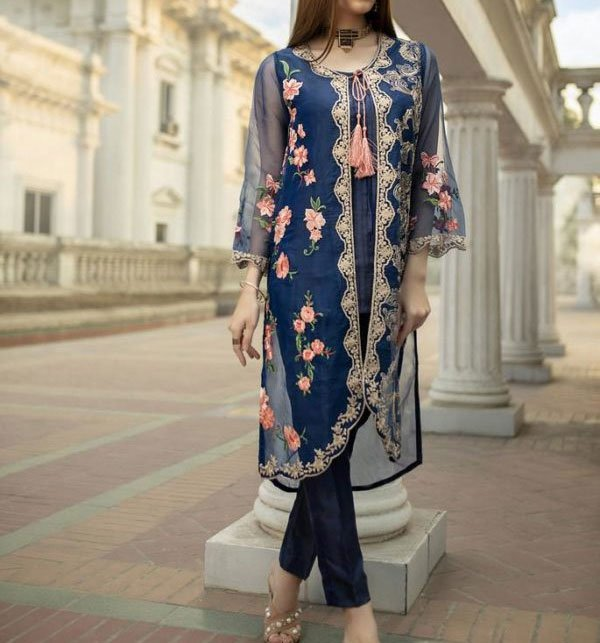 Full Embroidery Net Kurti With Inner (EK-120) (Unstitched)