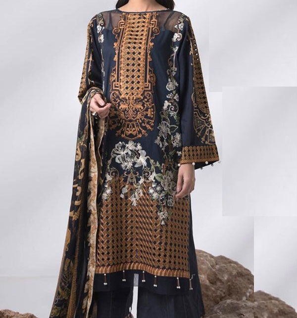 Heavy Embroidered Lawn Dress LAWN Dupatta UnStitched (DRL-575)