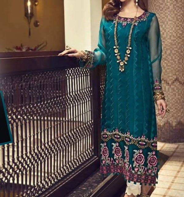 Net Embroidery Suit with net Embroidery Dupatta (CHI-295) (UnStitched)