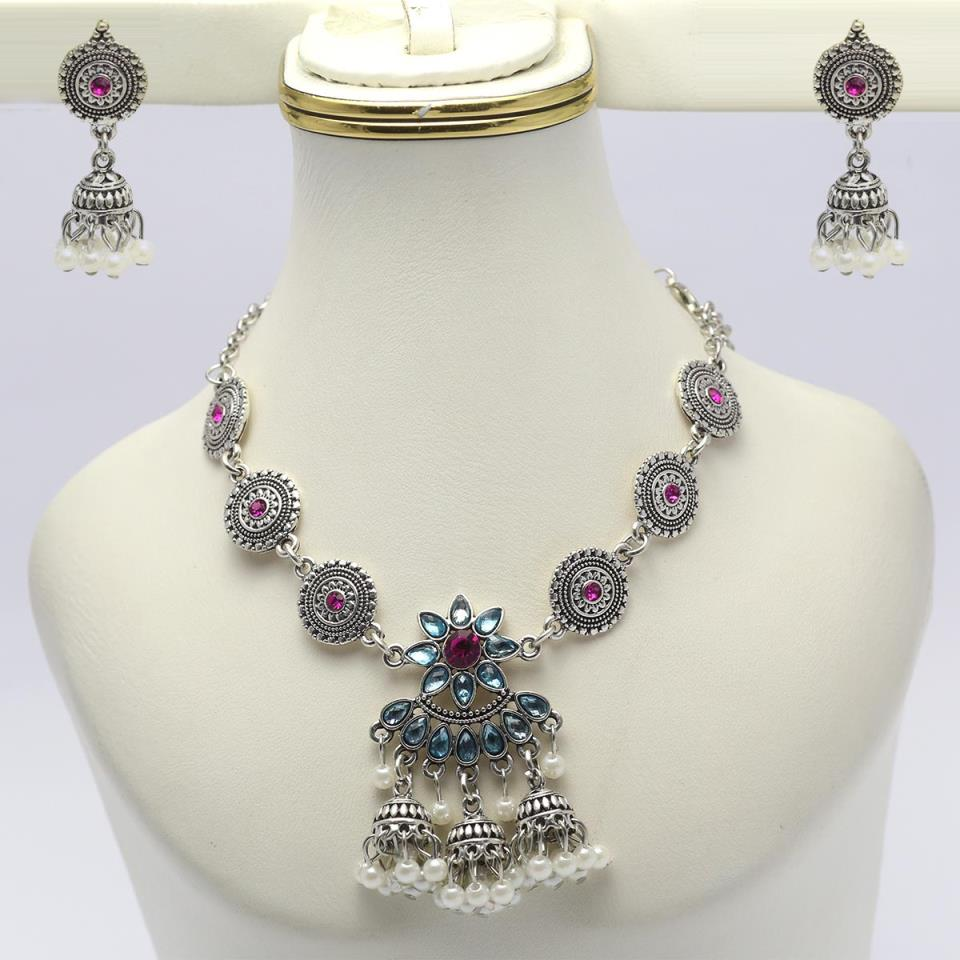 Artificial Silver Necklace Set For Women - (PS-136)