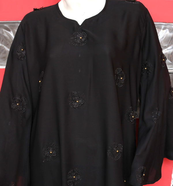 Embroidered Nida Fabric Black Abaya (AB-51)