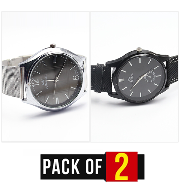 Pack Of 2 AW Collection Gents Men Watch - (Black & Grey) - (CW-107 & CW-108)