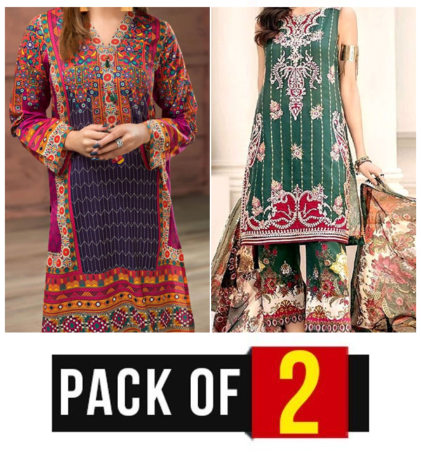 Pack OF 2 Hit Latest Lawn Embroidery Dress 2020 2021  (DRL-418) & (DRL-573)