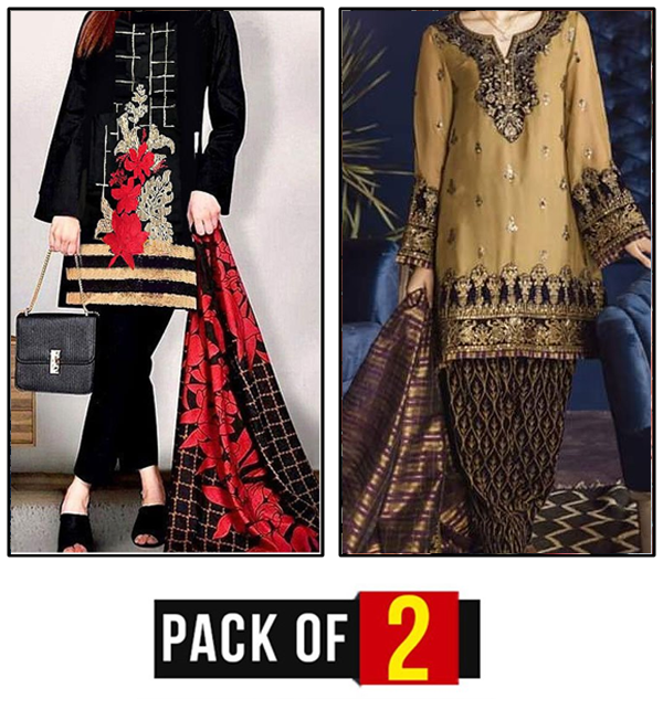 Pack OF 2 - Pakistani Embroidered Lawn Suit with Chiffon Dupatta UnStitched (DRL-423) & (DRL-458)