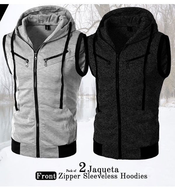 Pack of 2 - Sleeveless Zipper Hoodies Jaqueta Front