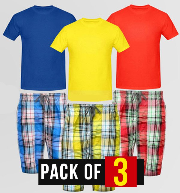 Pack of 3 Plaid Shorts with 3 Plain T-Shirts