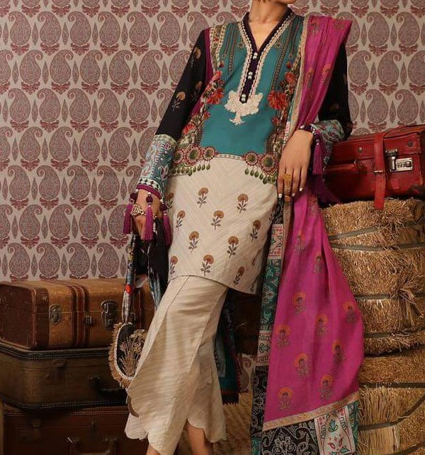 LINEN Embroidery Dress With Wool Shawl Duppata (Unstitched) (LN-67)
