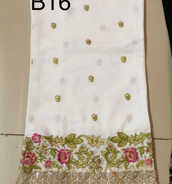 Stitched Embroidered White Cotton Trouser For Women (Stitched Trouser)