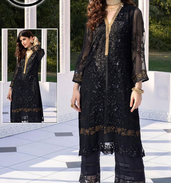 Unstitched Black Heavy Embroidered Chiffon Kurti