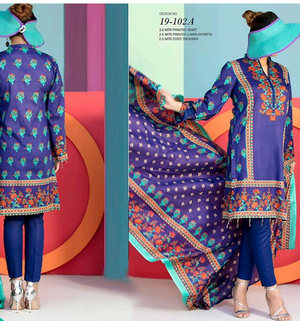 VS Classic Lawn Dress 2019 With Lawn Dupatta (VS-102A) (Unstitched)
